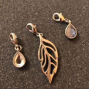 Lia Sophia Silver Leaf & Crystal Dangle Charms